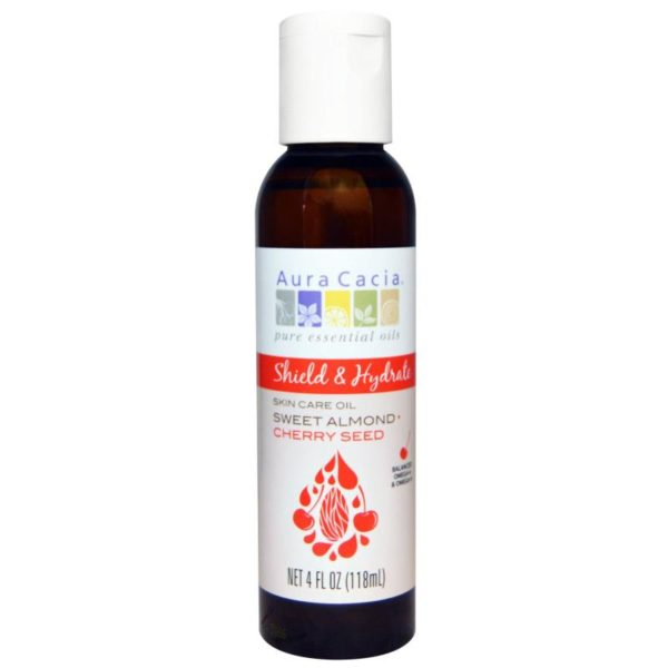 Aura Cacia Skin Care Shield &Hydrate Sweet Almond+Cherry Seed 4 Oz