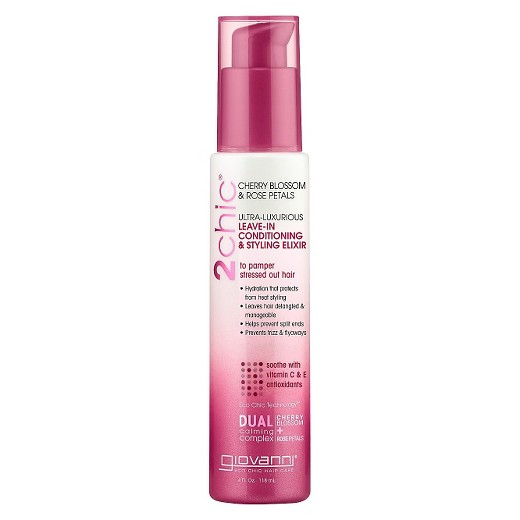 Giovanni Cosmetics Leave In Conditioner & Styling Elixir Cherry Blossom&Rose Petals 4 Oz